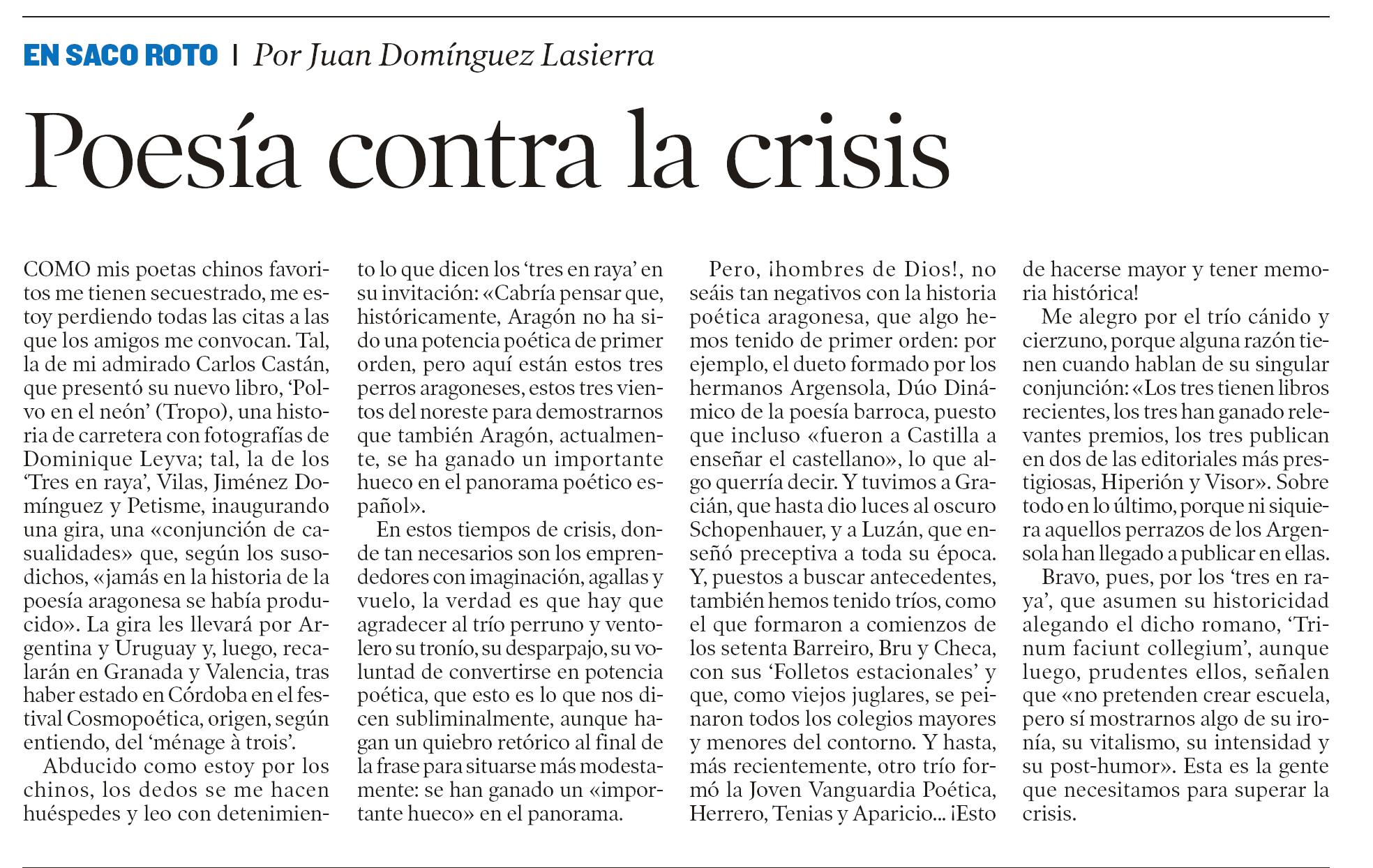 Poesía contra la crisis.Artículo en Heraldo de Aragón sobre el ...