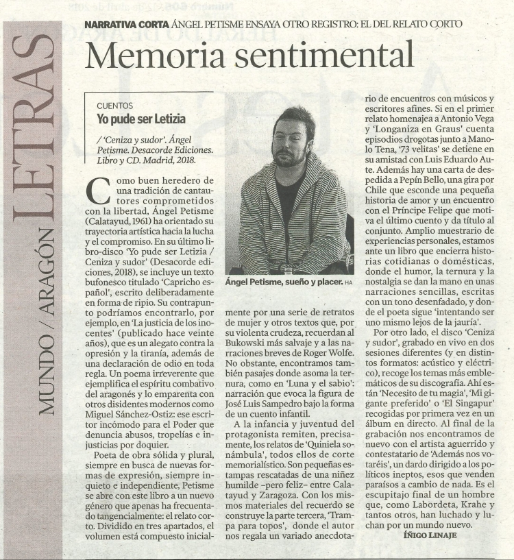 Ángel Petisme articulo heraldo Aragon Iñigo Linaje